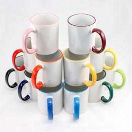 Keramiktasse 2 Farbig Rand + Henkel