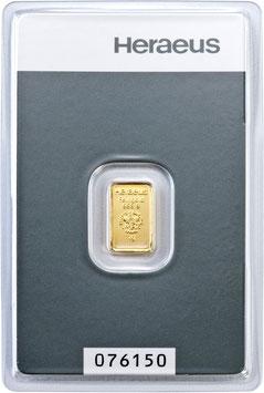 LINGOT OR HERAEUS 1 GRAMME PUR 999,9/000 AVEC CERTIFICAT