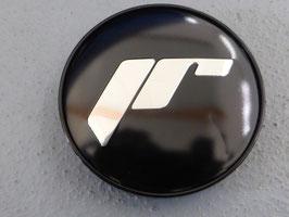 Japan Racing Nabenkappen Rand schwarz / Hintergrund schwarz / Schrift chrom