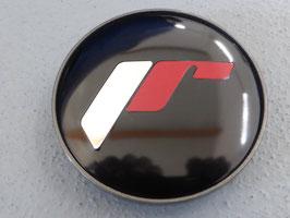 Japan Racing Nabenkappen Rand Gunmetal / Hintergrund schwarz / Schrift silber-rot