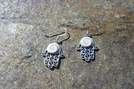 Hamsa Earrings with Shiva Eyes