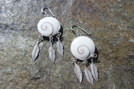 Shiva Eye Earrings with Feathers