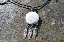 Shiva Eye Pendant with Feathers
