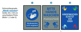 """Schmutzfangmatte kurz 85 x 120 cm """"Hände waschen"""""""