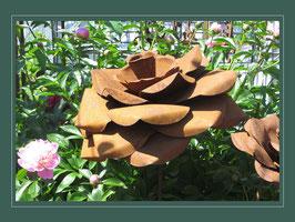 Edelrost Blume - Rose (mit gebogen Blätter)