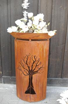 Edelrost  Gartensäule - Baummotiv