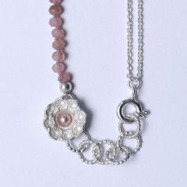 Zeeuwse ketting klein ornament met rodochrosiet