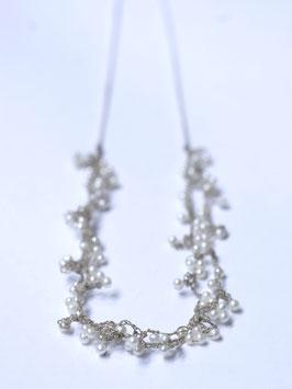 parelketting, gehaakte sieraden witte pareltjes p66 dubbel