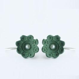 zeeuws oorbellen groen porselein en parels