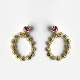 zeeuws ovaaltje oorbellen goud met roze toermalijn, los