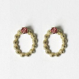 zeeuws ovaaltje oorbellen goud met roze toermalijn, vast