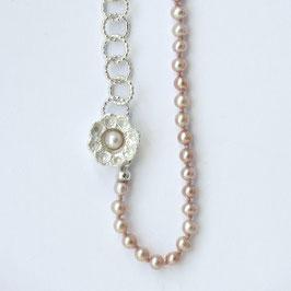 Zeeuwse ketting klein ornament met roze pareltjes