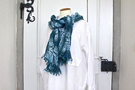 Baumwollschal Blau/Grün Batik
