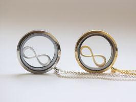 Kette Medaillon Infinity Silber oder Gold