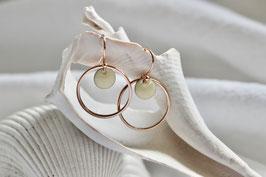 Ohrringe Kreis Roségold mit Emaille Cremeweiss