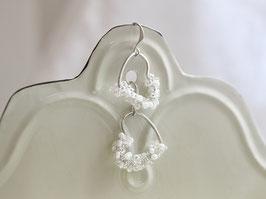 Ohrringe Rocaille Herz Silber/Weiß