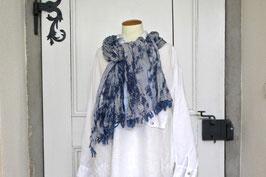 Baumwollschal Blau Batik