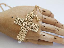 Kette Goldenes Kreuz mit Perle