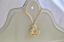 Kette Rocaille Herz Gold/Weiß