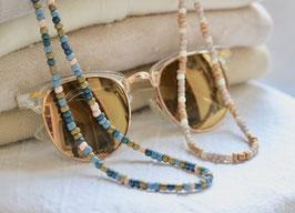 Rocaille Brillenkette Beige/Weißoder Blau/Khaki
