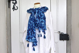 Baumwollschal Shibori Blau