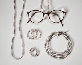 Rocaille Brillenkette Nude/Grau oder Grau/Weiß