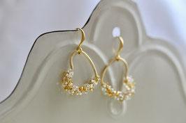 Ohrringe Rocaille Herz Gold/Glas