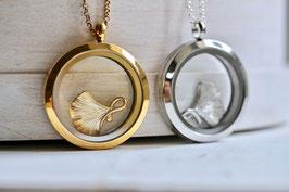 Medaillon Gingko Gold oder Silber
