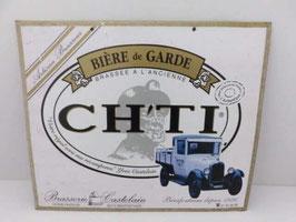 Plaque publicitaire ancienne en métal Bière de Garde Ch'ti / Vintage french beer advertising metal sign