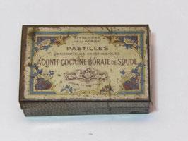 Boite métal pastilles Aconit Cocaïne Borate de soude / Aconite Cocaïne borate de soude lozenges tin