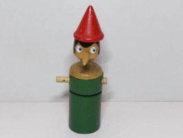 Tirelire Pinocchio vintage en bois / Vintage wooden Pinocchio money box
