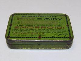 Boite italienne metal pharmacie suppositoires Emorroid Midy / Pharmacy italy suppositories Emorroid Midy tin