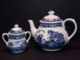Théière et sucrier Barratts Staffordshire ware Elizabethan / Barratts Staffordshire ware Elizabethan tea pot and sugar pot
