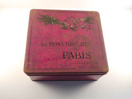 Grande boite ancienne en fer rose Biscuits Fabis / Large vintage french Fabis biscuit tin pink