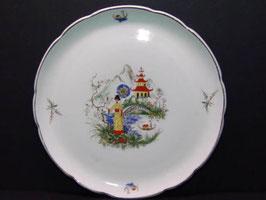 Plat Digoin Sarreguemines décor asiatique / Digoin Sarreguemines serving plate oriental decorations