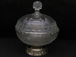 Drageoir ancien en verre et métal / Vintage french sweet jar in glass and metal