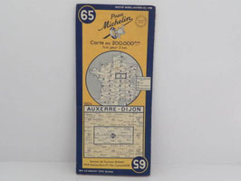 Carte routière Michelin n° 65 Auxerre-Dijon 1951 / French Auxerre-Dijon 1951 Michelin road map