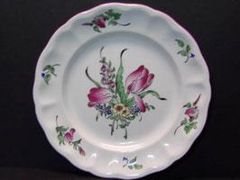 Assiette Lunéville déco fleurs / Lunéville plate with flowers decorations