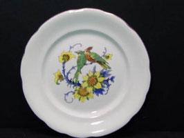 Assiettes Digoin à décor oiseaux et fleurs / Digoin plates decorated with birds and flowers