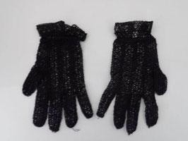 Paire de gants anciens en crochet noir / Vintage pair of gloves in black crochet