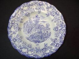 Assiettes creuses bleues publicitaires BP /  Publicity blue BP shallow bowls