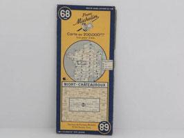 Carte routière Michelin n°68 Niort-Châteauroux 1945 / French Niort Châteauroux 1945 Michelin road map