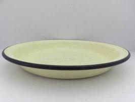 Grand plat creux en émail jaune / Large yellow enamel shallow dish