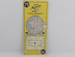 Carte routière Michelin n°75 Bordeaux-Tulle 1958 / French Bordeaux-Tulle 1958 Michelin road map