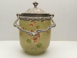 Pot à biscuits ancien en verre émaillé Art Nouveau / Antique french Art Nouveau enamelled glass biscuit jar