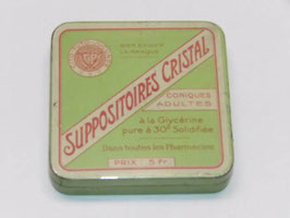 Boite métal pharmacie suppositoires cristal / Pharmacy suppositories crystal tin