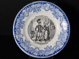 Assiette parlante Luneville scènes villageoises comiques n°10 / Luneville talking plate scènes villageoises comiques n°10