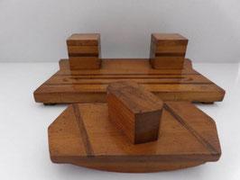 Nécessaire de bureau en bois / Double wooden inkwell & blotter