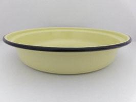 Grand plat creux émaillé jaune / Large yellow enamel dish