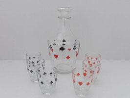 Carafe et 6 verres design cartes à jouer / Decanter and 6 glasses playing card design